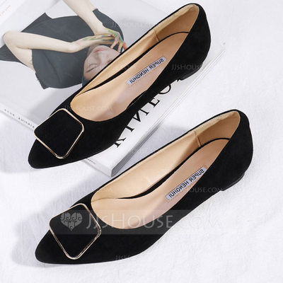 Women's Suede Flat Heel Closed Toe Flats With Button