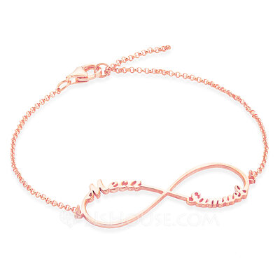 [Free Shipping]Christmas Gifts For Her - Custom Sterling Silver Link & Chain Name Bracelets