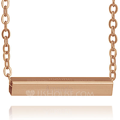 Christmas Gifts For Her - Custom 18k Rose Gold Plated Silver Bar Necklace Nameplate