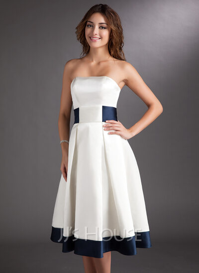 A-Line/Princess Strapless Knee-Length Satin Wedding Dress With Sash Bow(s)