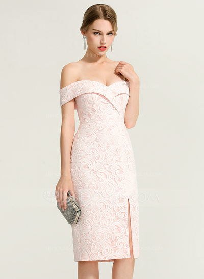Sheath/Column Off-the-Shoulder Knee-Length Lace Cocktail Dress
