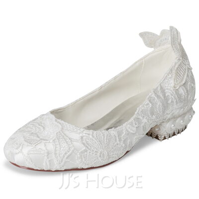 Women's Cloth Lace Low Heel Closed Toe With Beading Applique