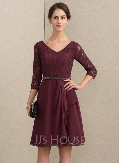 A-Line V-neck Knee-Length Chiffon Lace Mother of the Bride Dress With Beading