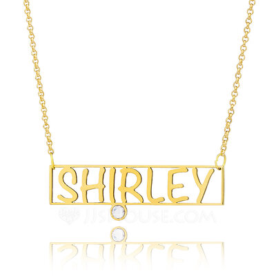 Christmas Gifts For Her - Custom 18k Gold Plated Name Bar Hollow Carved Birthstone Necklace