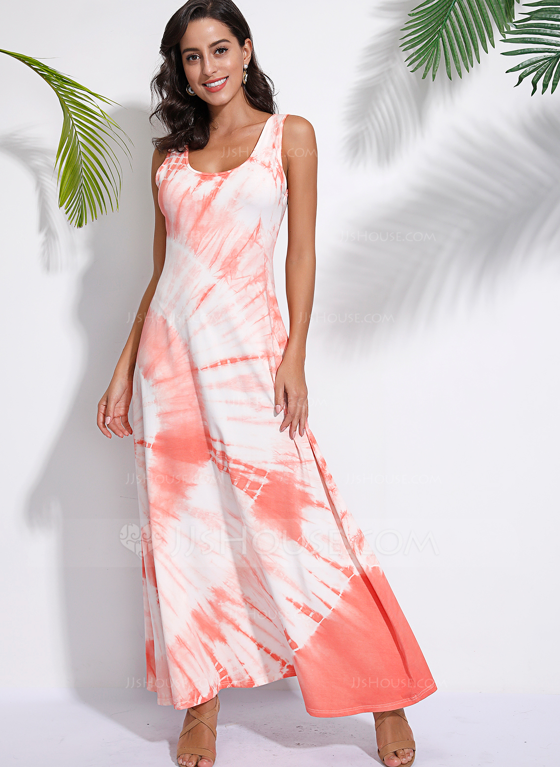 Charmeuse With Print Maxi Dress