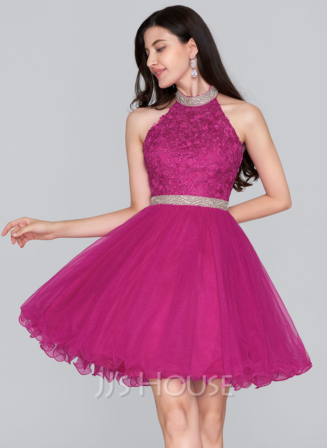 Alineprincess Halter Shortmini Tulle Homeing Dress With Beading Loading Zoom: Magenta Short Wedding Dresses At Websimilar.org