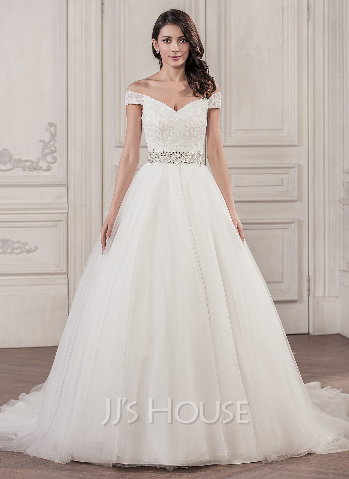 d48090e461b Ball-Gown Off-the-Shoulder Cathedral Train Tulle Wedding Dress With Beading  Sequins. Loading zoom