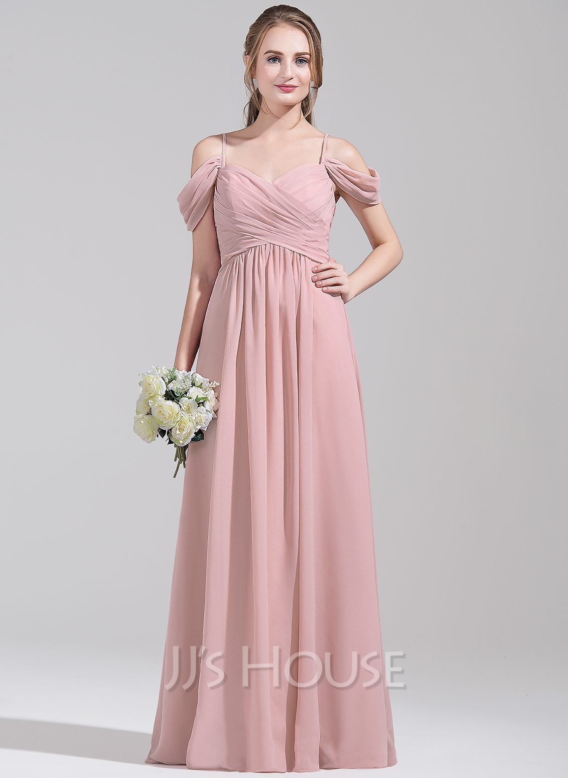 A Line Princess Off The Shoulder Floor Length Chiffon Bridesmaid Dress Loading Zoom