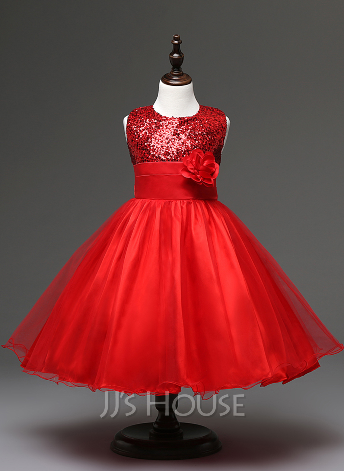 Empire Knee-length Flower Girl Dress - Tulle Sequined Cotton Blends Sleeveless Jewel With Flower(s)