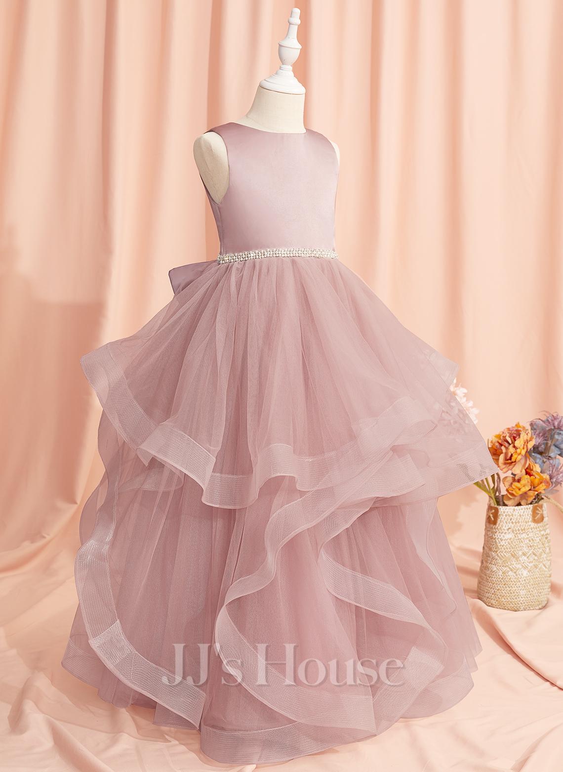 Ball-Gown/Princess Floor-length Flower Girl Dress - Tulle Sleeveless Scoop Neck With Beading/Bow(s)/V Back