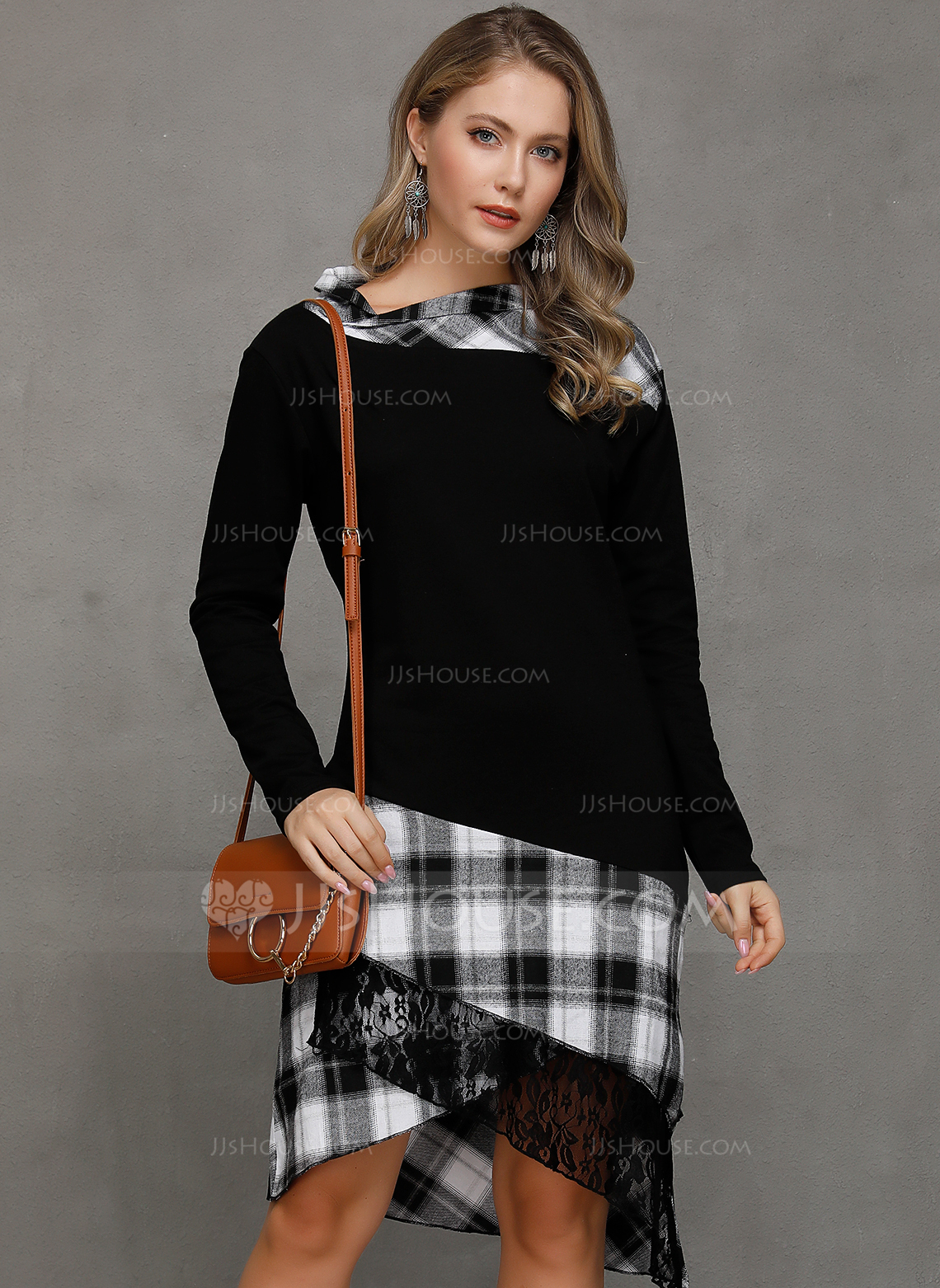 Blend With Plaid Asymmetrical Dress