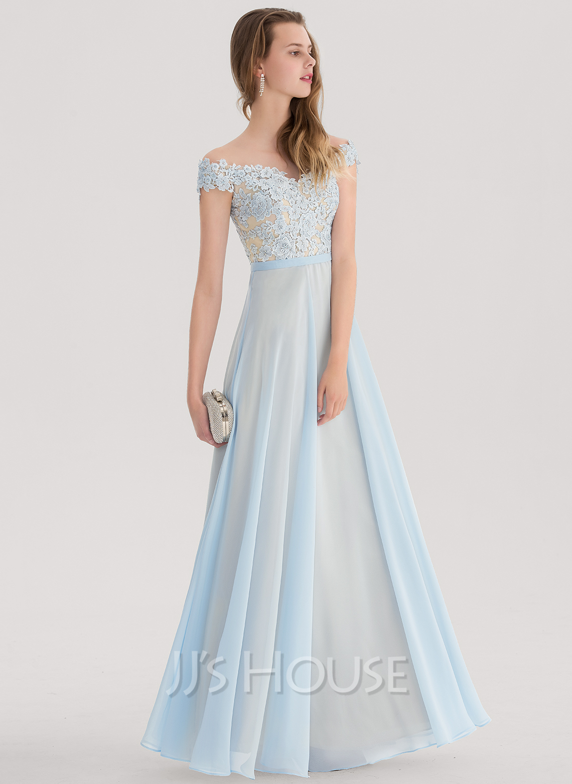 fe4a0f45808 A-Line Princess Off-the-Shoulder Floor-Length Chiffon Prom Dresses. Loading  zoom