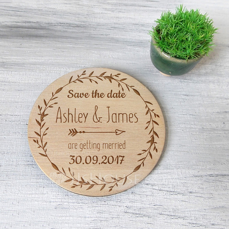 Personalized Round Wooden Save-the-date Magnets (Set of 10)