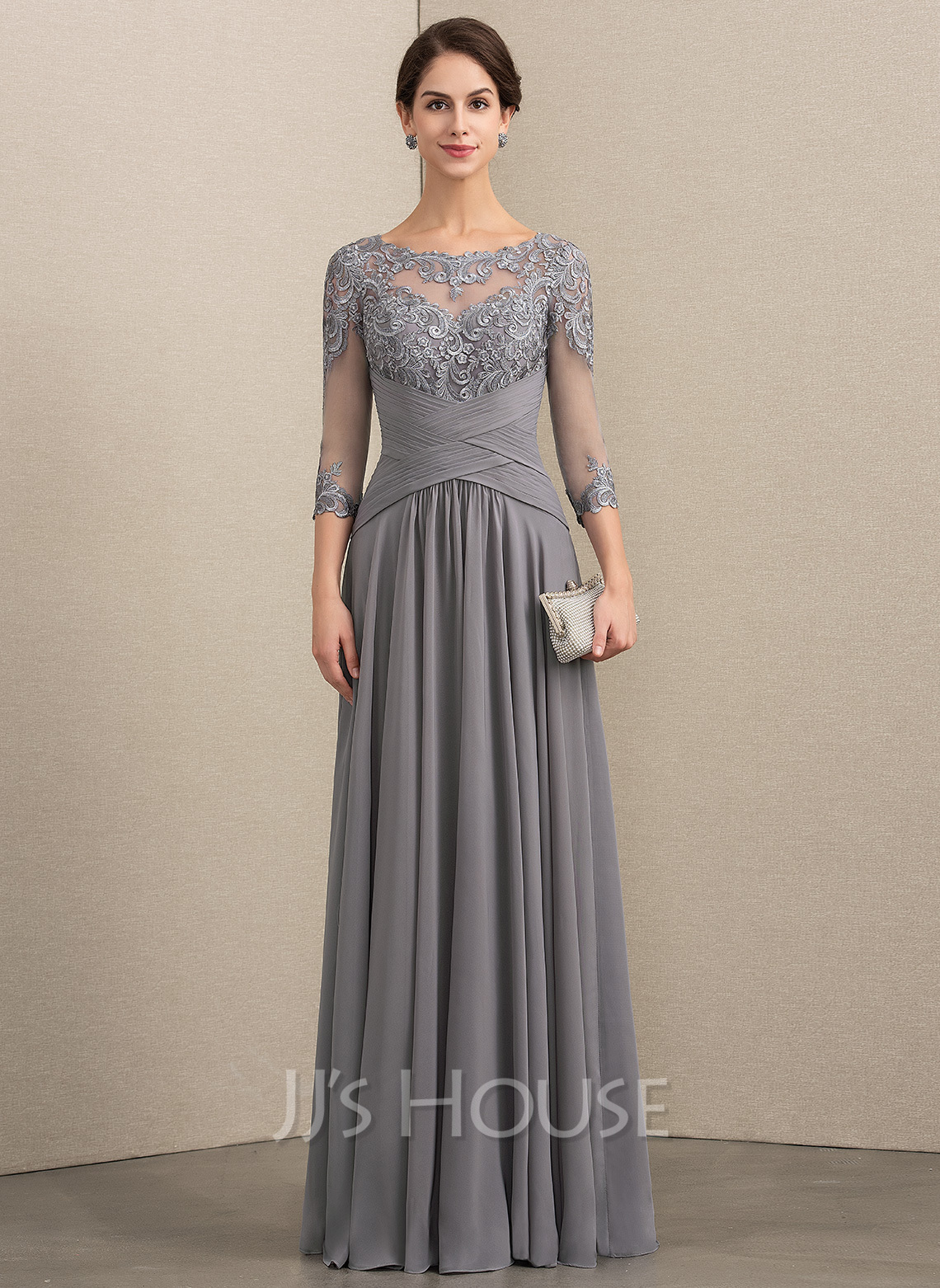 Scoop Neck Floor-Length Chiffon Lace Mother of the Bride Dress With Ruffle