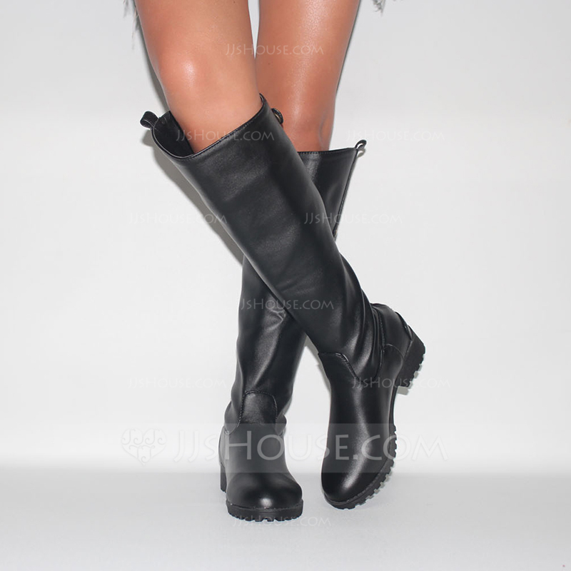 7af2341ff Women s Leatherette Low Heel Closed Toe Boots Knee High Boots shoes. Loading  zoom
