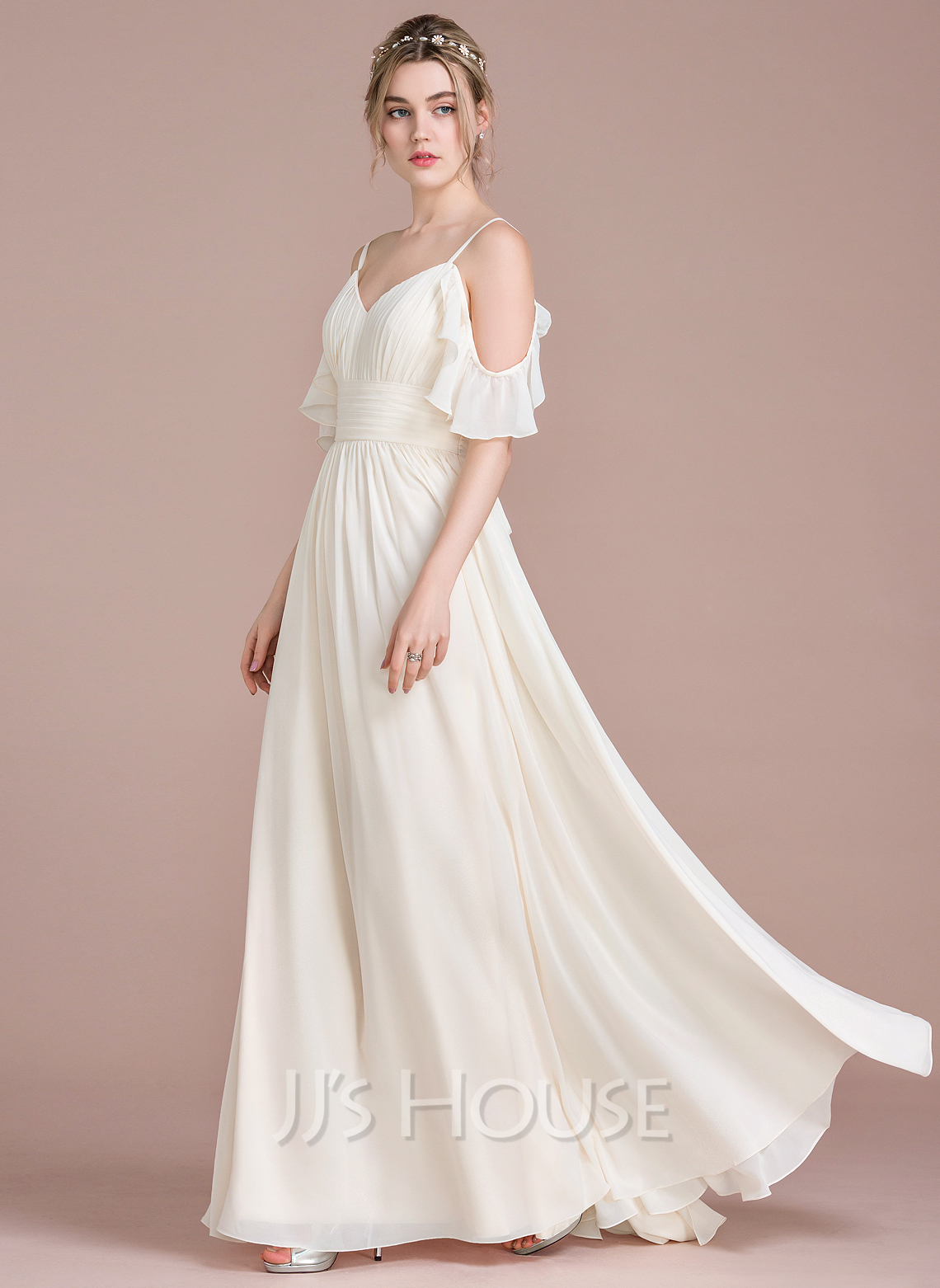 7b8cad98a67 A-Line Floor-Length Chiffon Wedding Dress With Cascading Ruffles. Loading  zoom