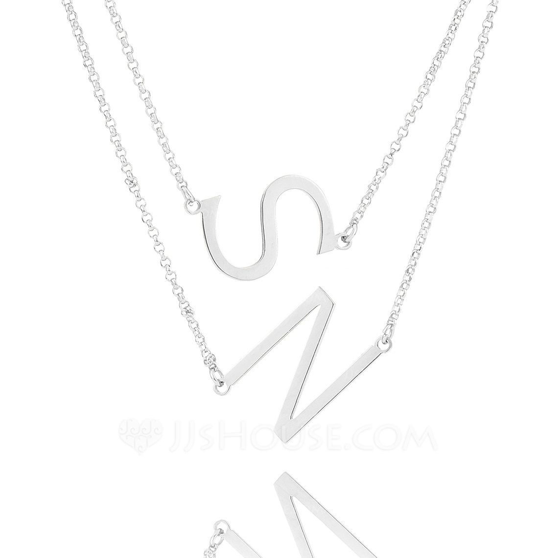 Custom Sterling Silver Double Sideways Initial Necklace - Christmas Gifts