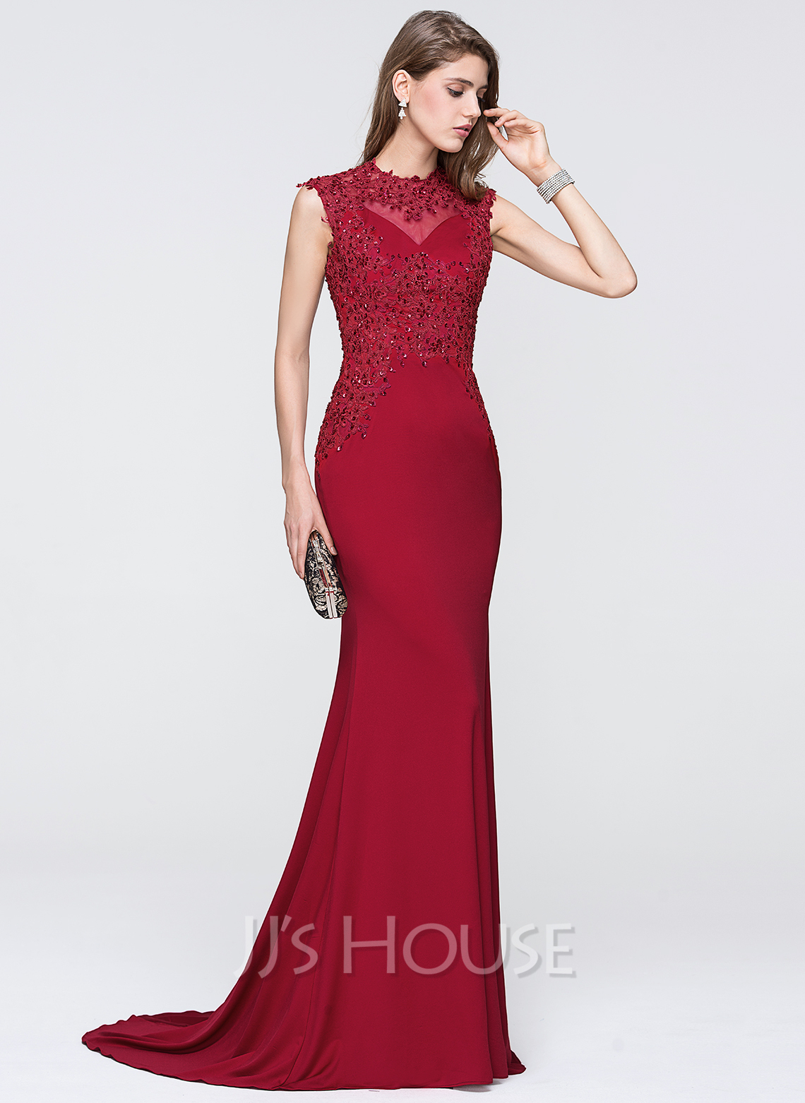 2ce28a5201ff Trumpet/Mermaid Scoop Neck Sweep Train Jersey Evening Dress With Beading  Sequins. Loading zoom