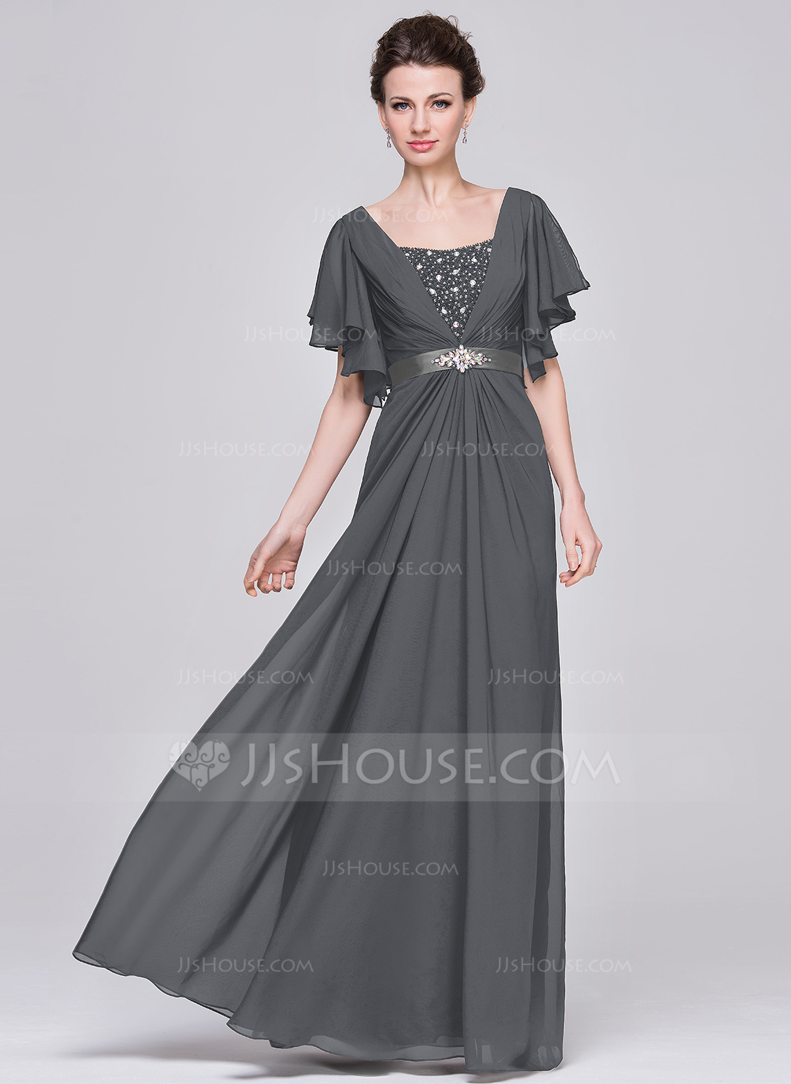 A-Line Sweetheart Floor-Length Chiffon Mother of the Bride Dress With Ruffle Beading Sequins