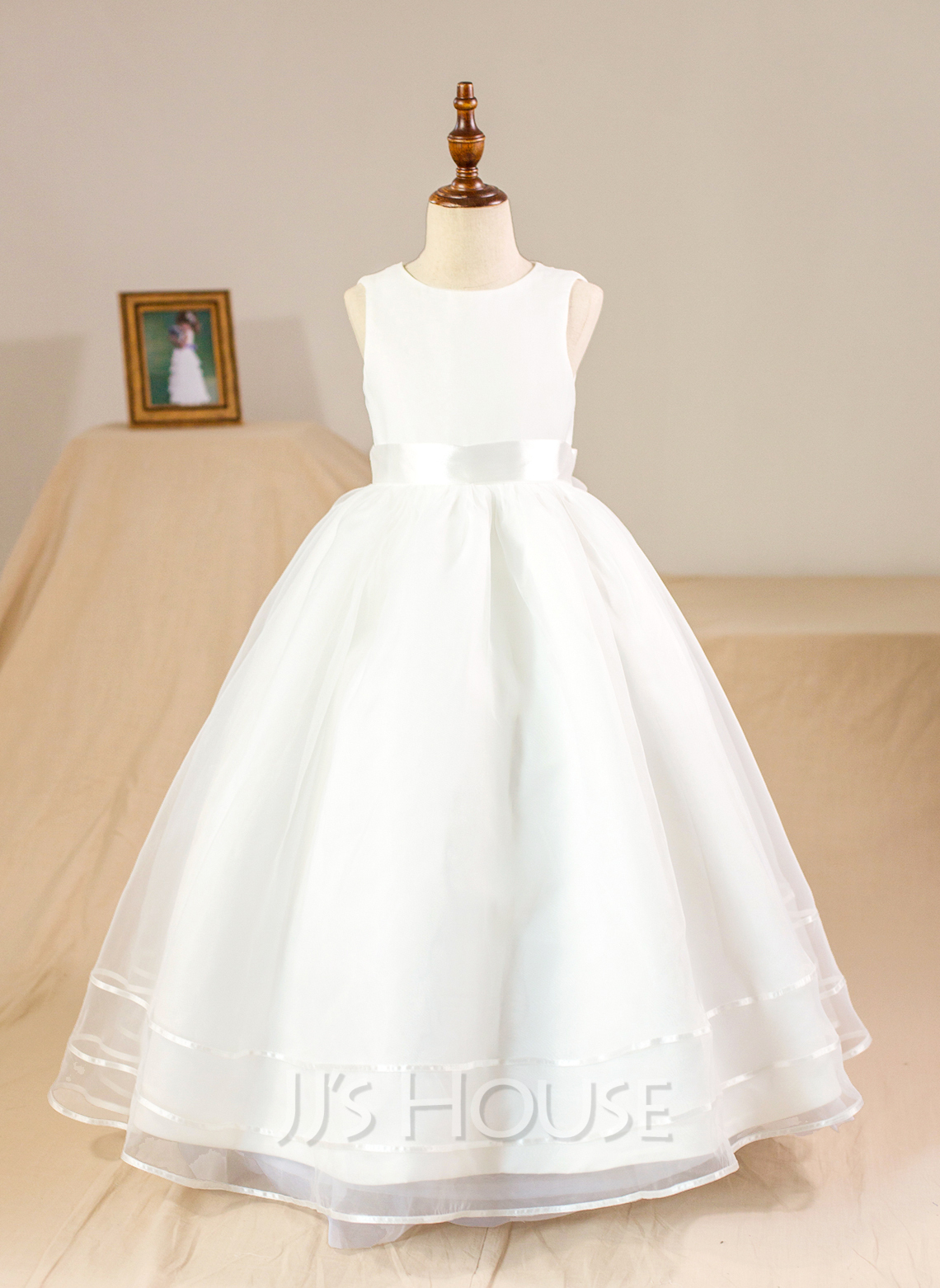 Floor-length Flower Girl Dress - Organza Sleeveless Scoop Neck With Bow(s) (Petticoat NOT included)
