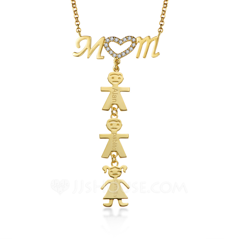 Custom 18k Gold Plated Heart Three Engraved Necklace With Kids Names - Birthday Gifts