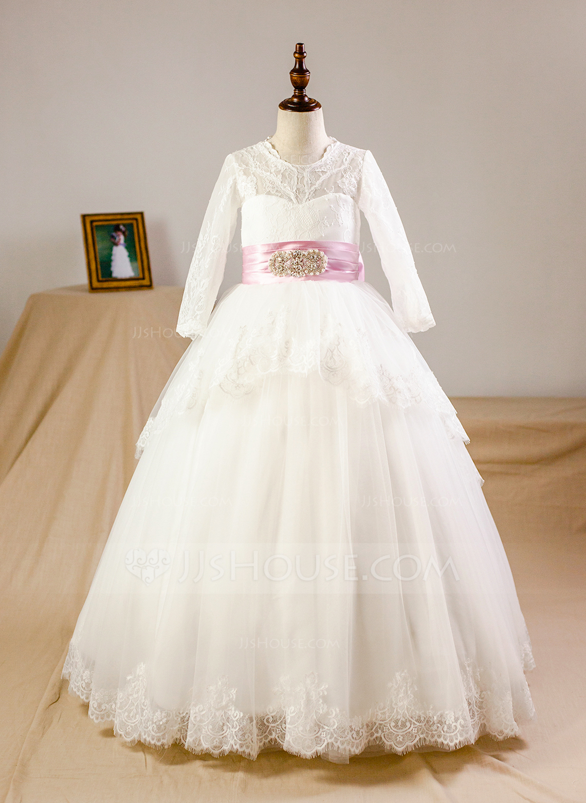 Floor-length Flower Girl Dress - Organza Satin Tulle Long Sleeves Scoop Neck With Sash Bow(s)