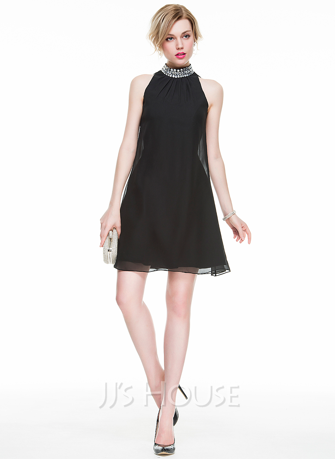 High Neck Short/Mini Chiffon Cocktail Dress With Beading Sequins