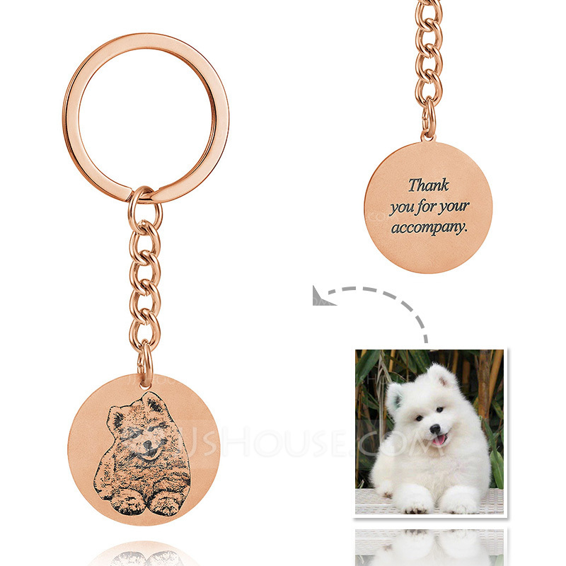 Groomsmen Gifts - Personalized Photo Engraved Black And White Circle 18K Rose Gold Plated Sterling Silver Keychain