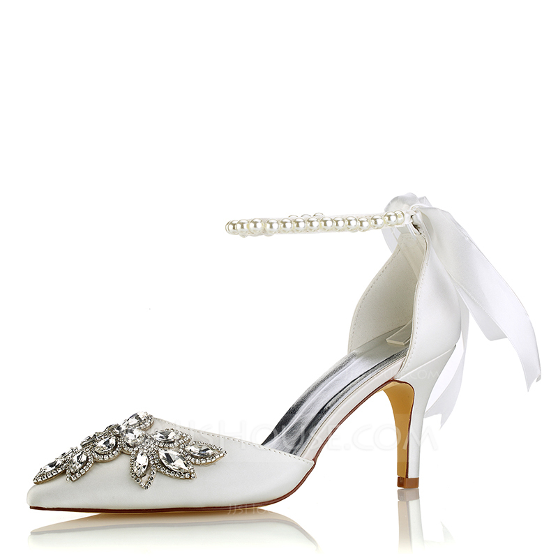 25a800f1edc Women s Silk Like Satin Stiletto Heel Pumps With Crystal Pearl. Loading zoom