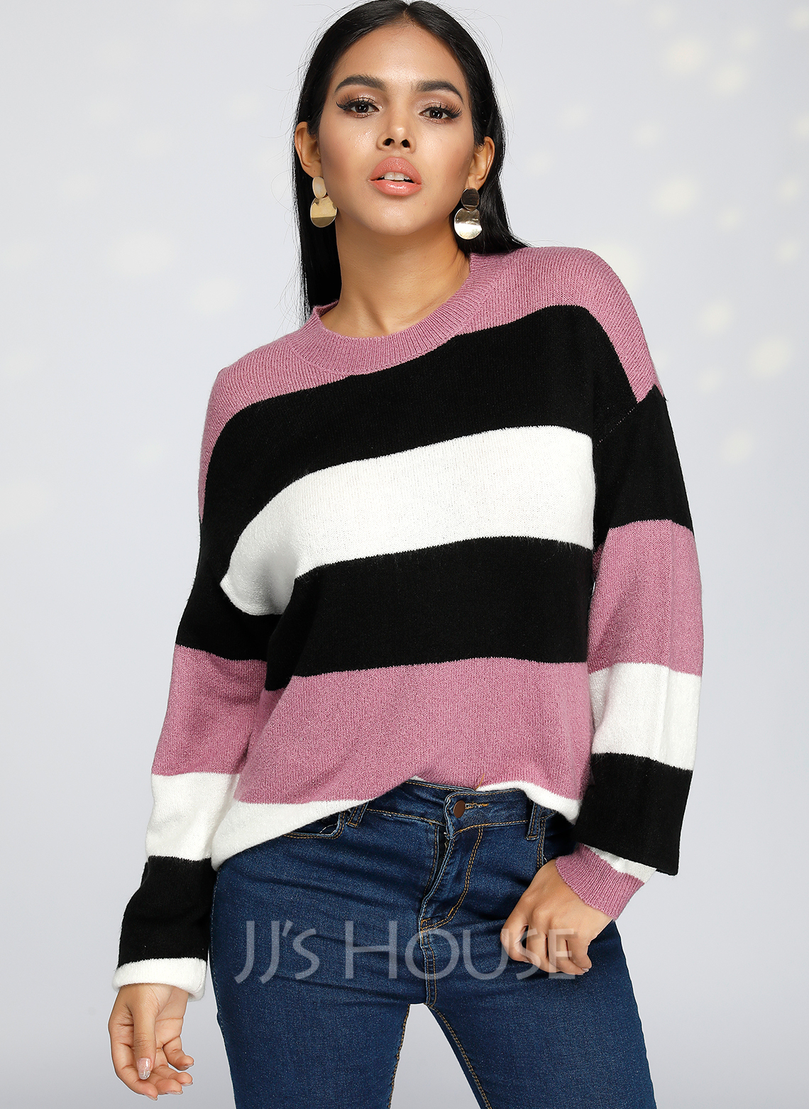 Color Block Polyester Round Neck Pullovers Sweaters