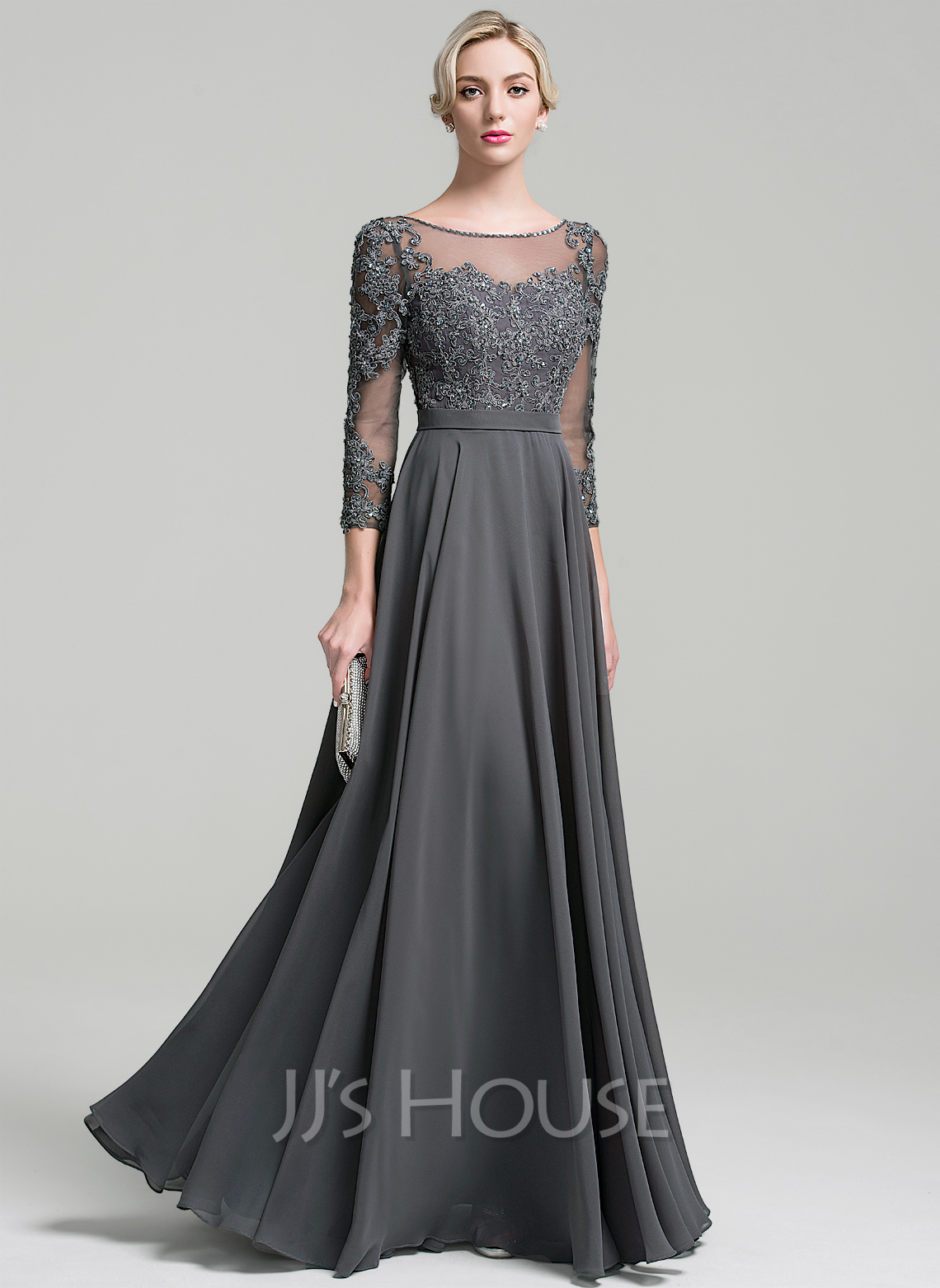 Scoop Neck Floor-Length Chiffon Mother of the Bride Dress With Beading Sequins