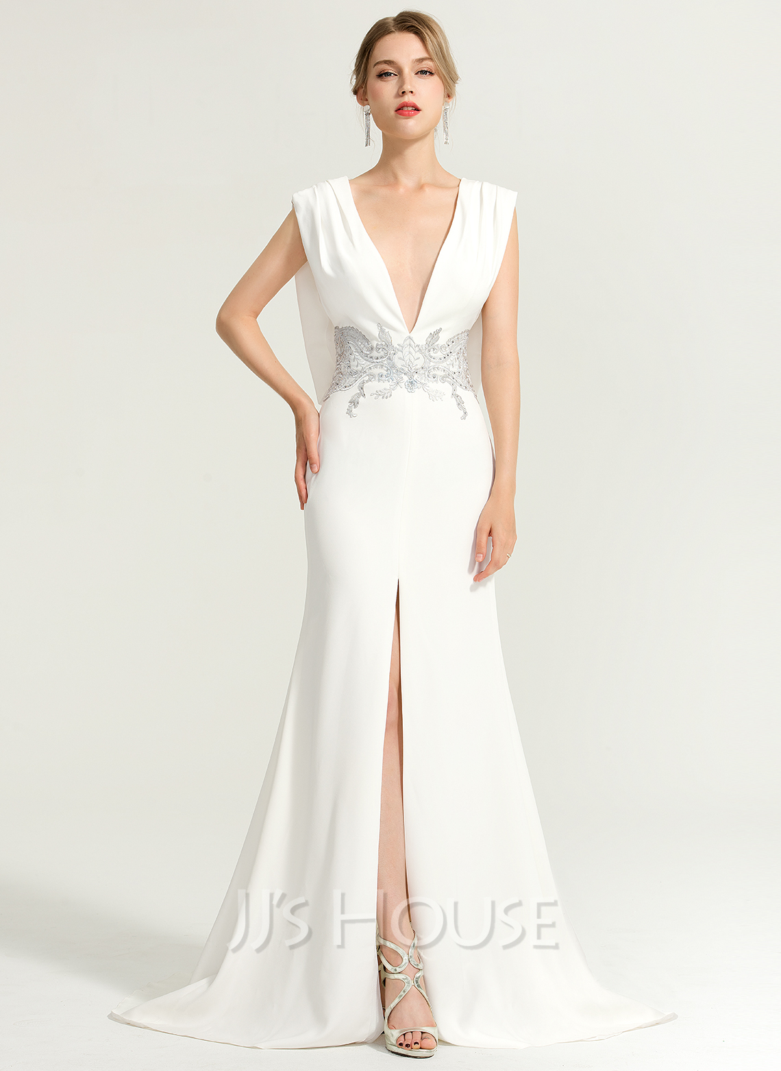 Trumpet/Mermaid V-neck Sweep Train Jersey Evening Dress With Beading Split Front