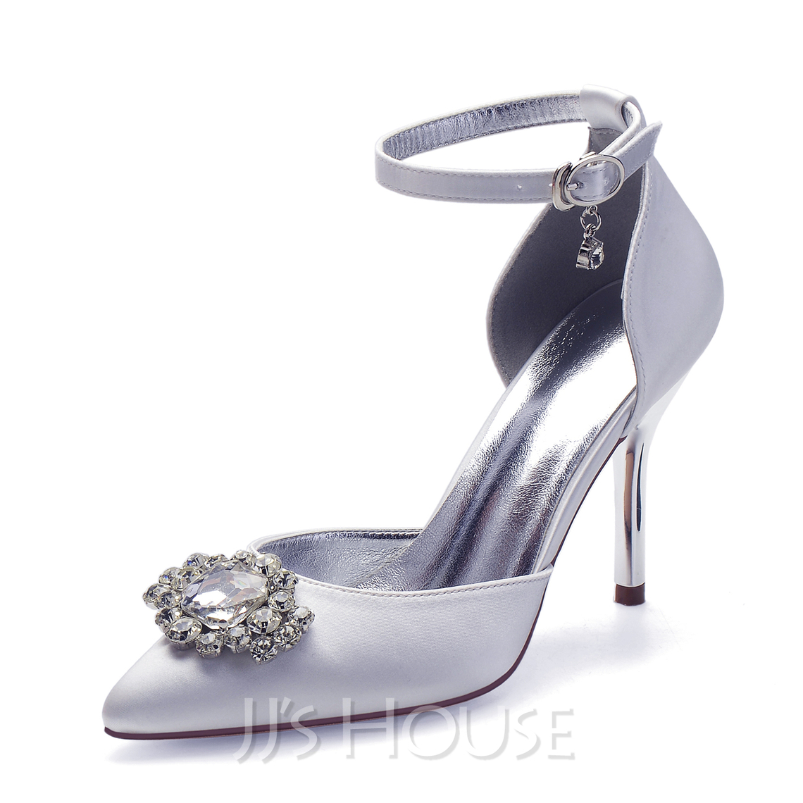 Women's Satin Stiletto Heel Pumps With Rhinestone