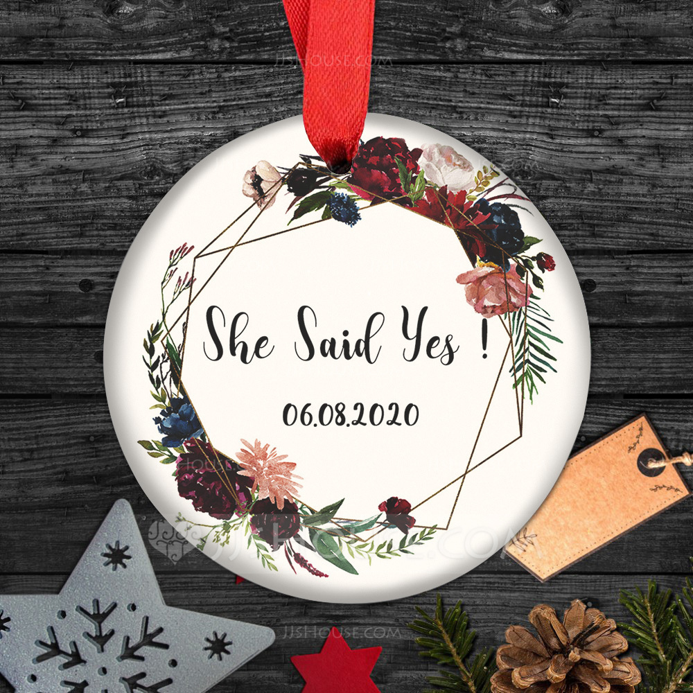 Personalized/Double Sided Custom Pure/Delicate/Floral Design Ceramic Tag Wedding Ornaments