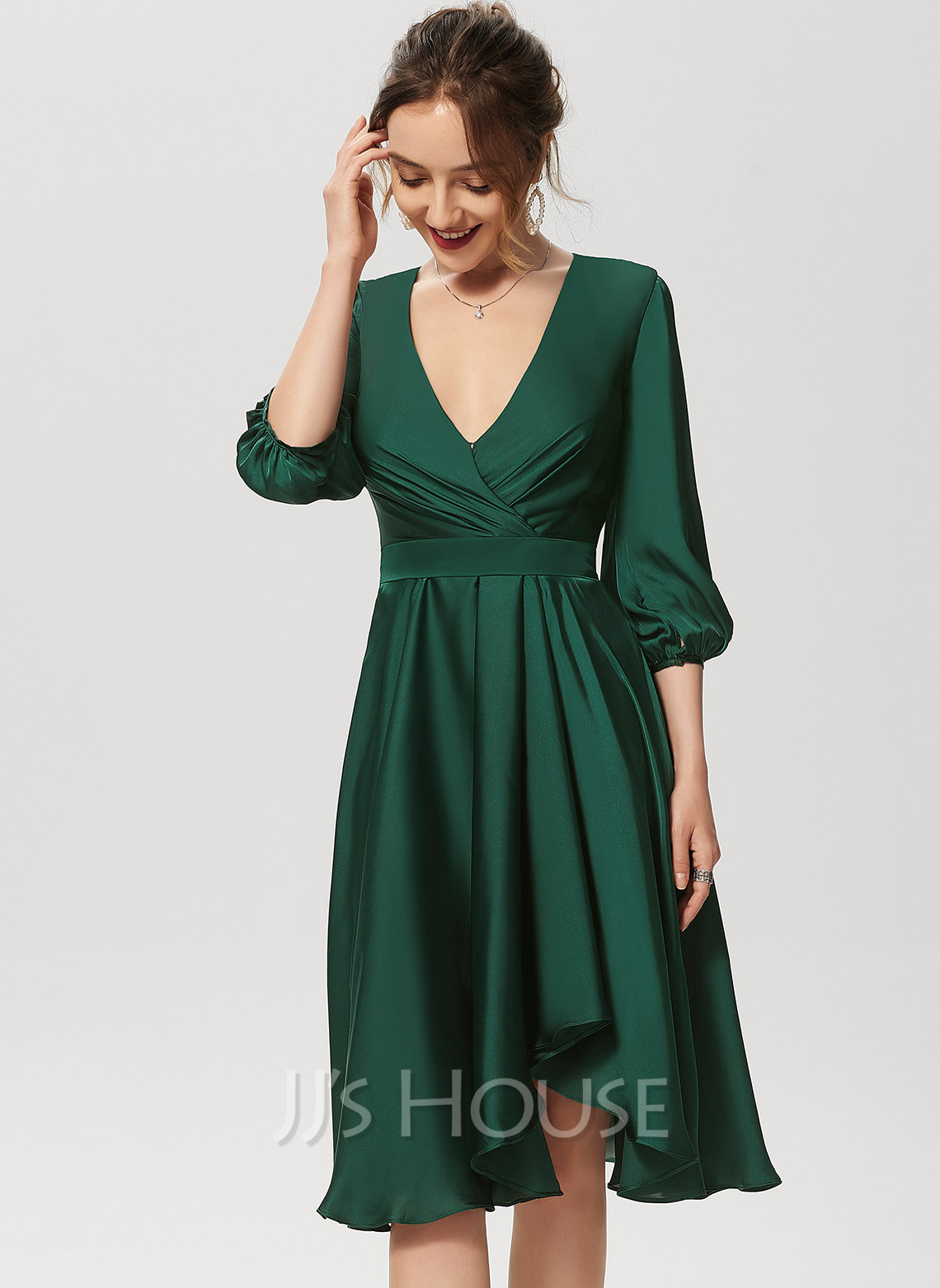 A-Line V-neck Asymmetrical Satin Chiffon Cocktail Dress