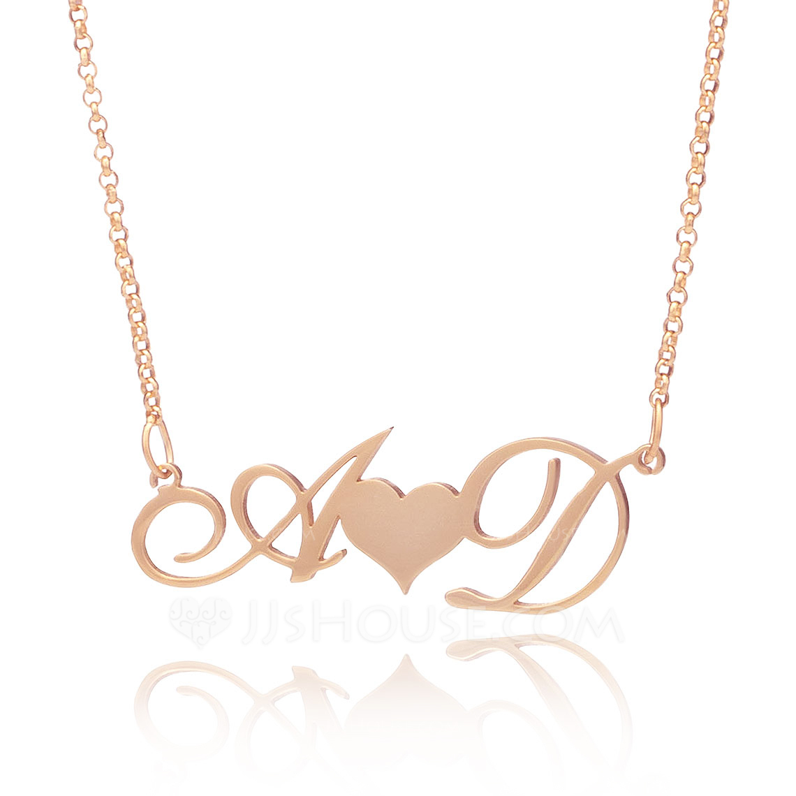 Custom 18k Rose Gold Plated Silver Letter Two Heart Necklace Initial Necklace With Heart - Birthday Gifts Mother's Day Gifts