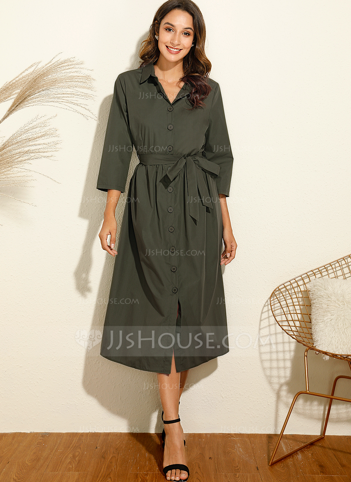 Polyester/Spandex With Solid Midi Dress