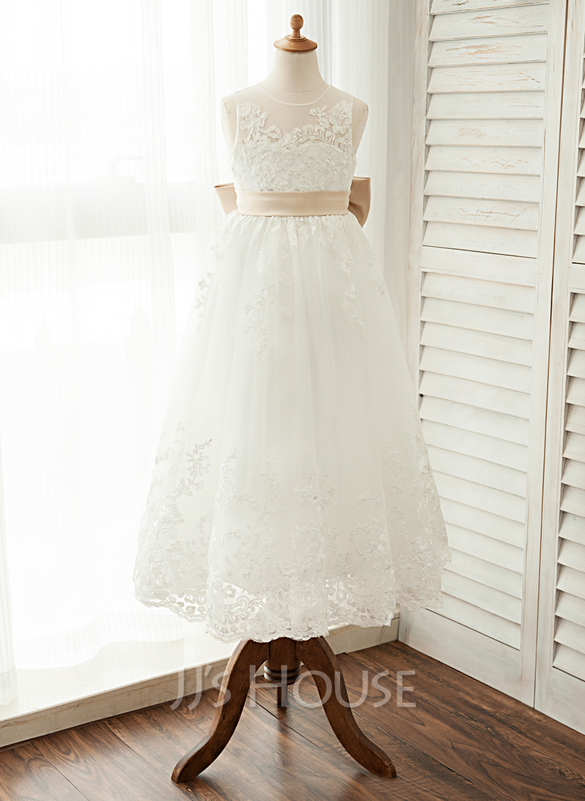 fc894fa1c A-Line/Princess Ankle-length Flower Girl Dress - Satin/Tulle/Lace Sleeveless  Scoop Neck With Sash/Bow(s) #122548