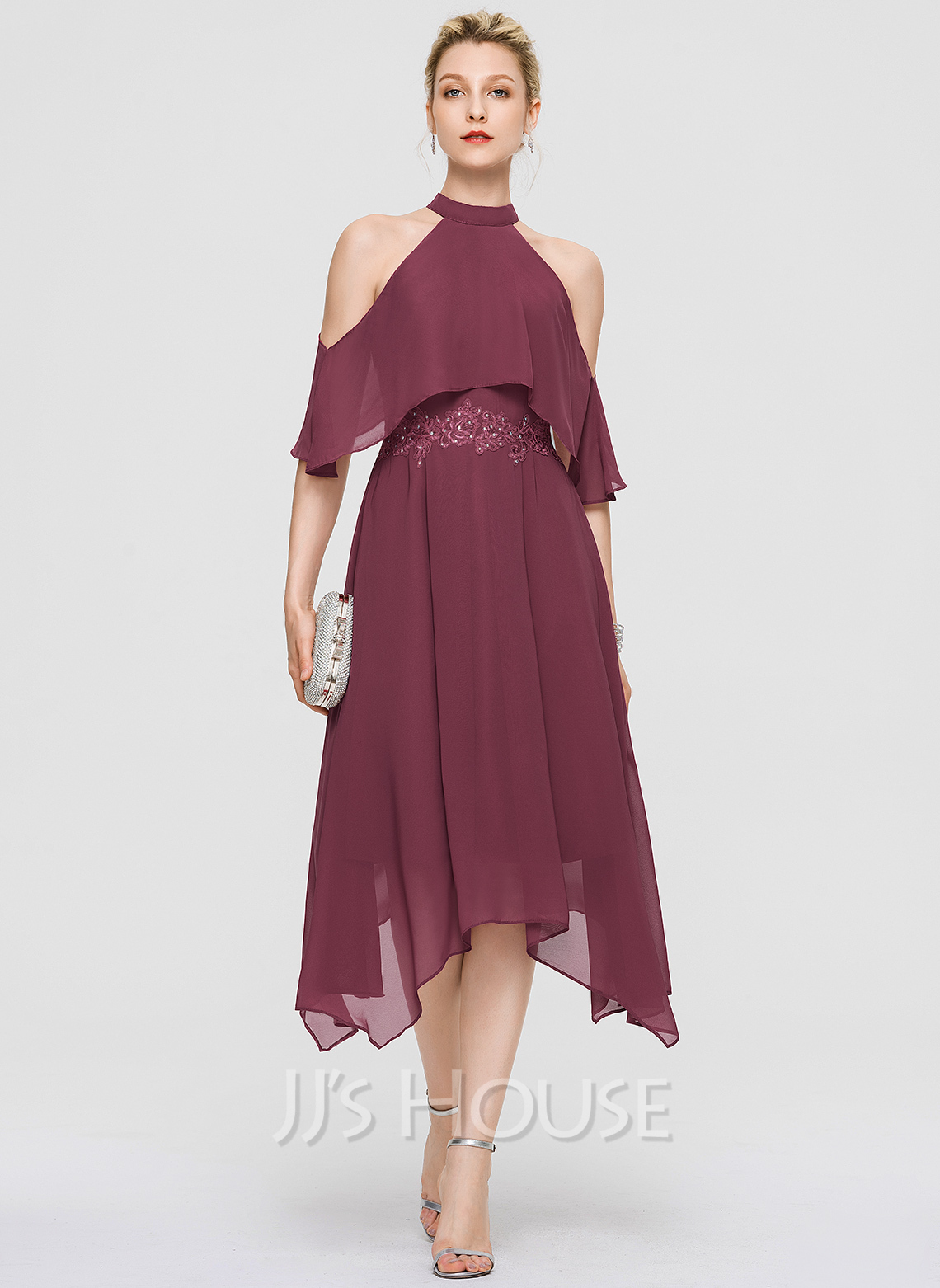 High Neck Asymmetrical Chiffon Cocktail Dress With Lace