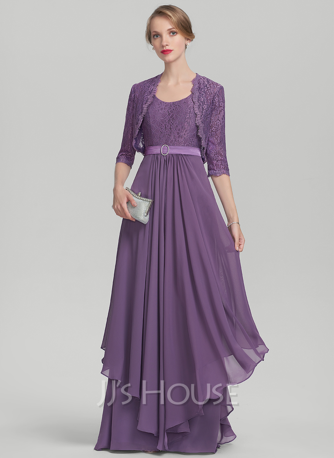 Scoop Neck Floor-Length Chiffon Lace Mother of the Bride Dress With Beading Cascading Ruffles