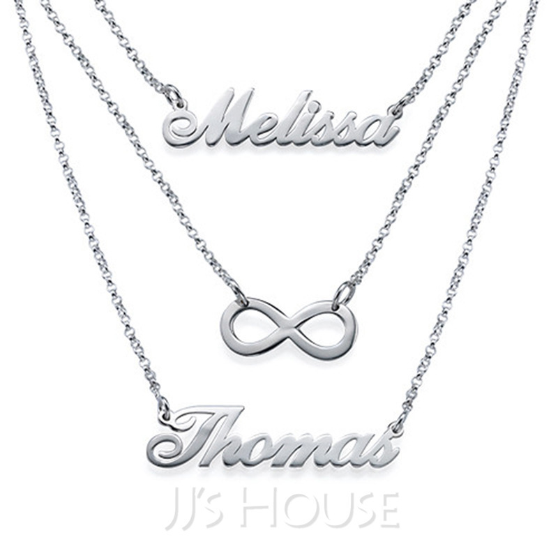 7f3d325ca249f Personalized Ladies' Chic 925 Sterling Silver Name Necklaces For  Bridesmaid/For Mother/For Friends/For Couple (011207137)