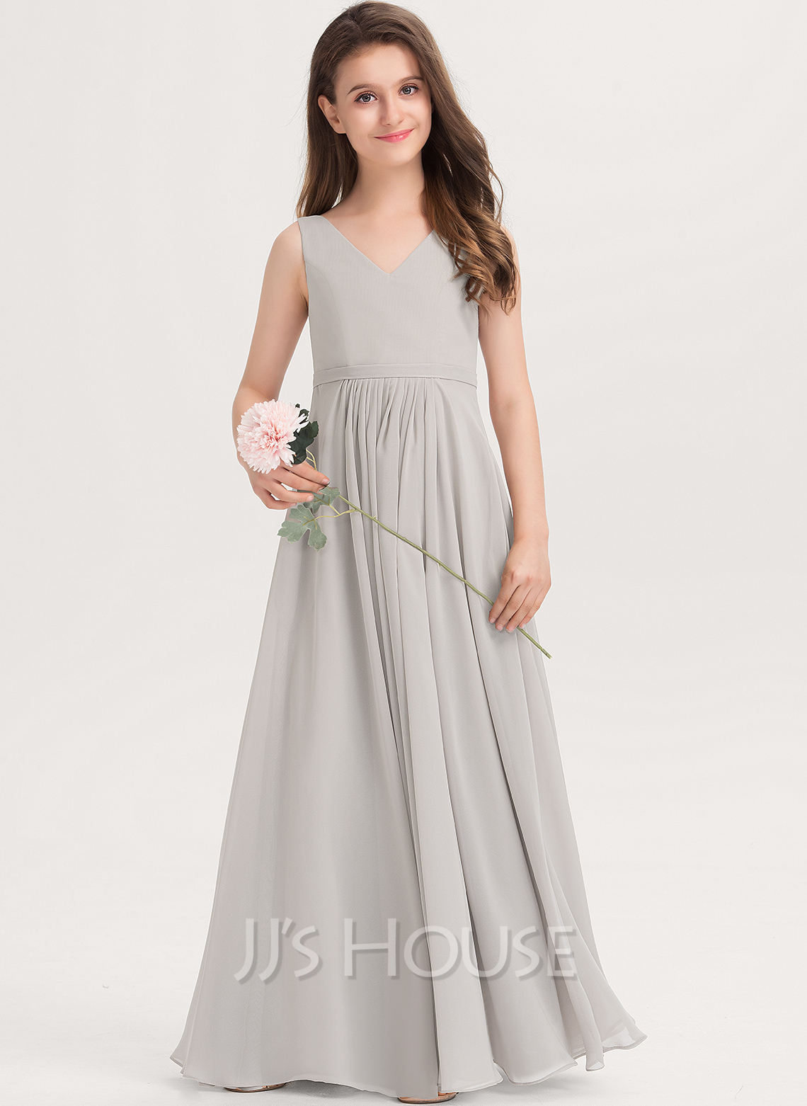 V-neck Floor-Length Chiffon Junior Bridesmaid Dress With Pockets