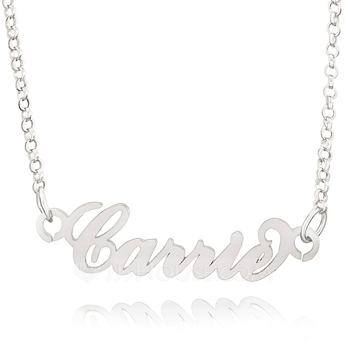 Custom Sterling Silver Plate Carrie Name Necklace - Birthday Gifts Mother's Day Gifts