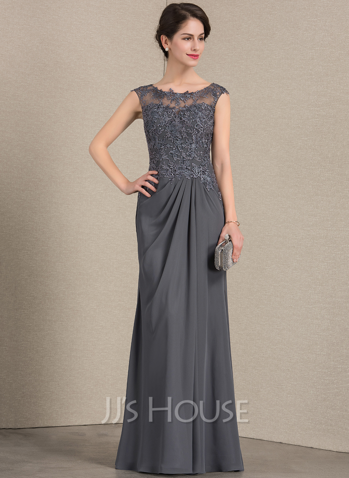 79287179381 A-Line Princess Scoop Neck Floor-Length Chiffon Lace Mother of the Bride. Loading  zoom