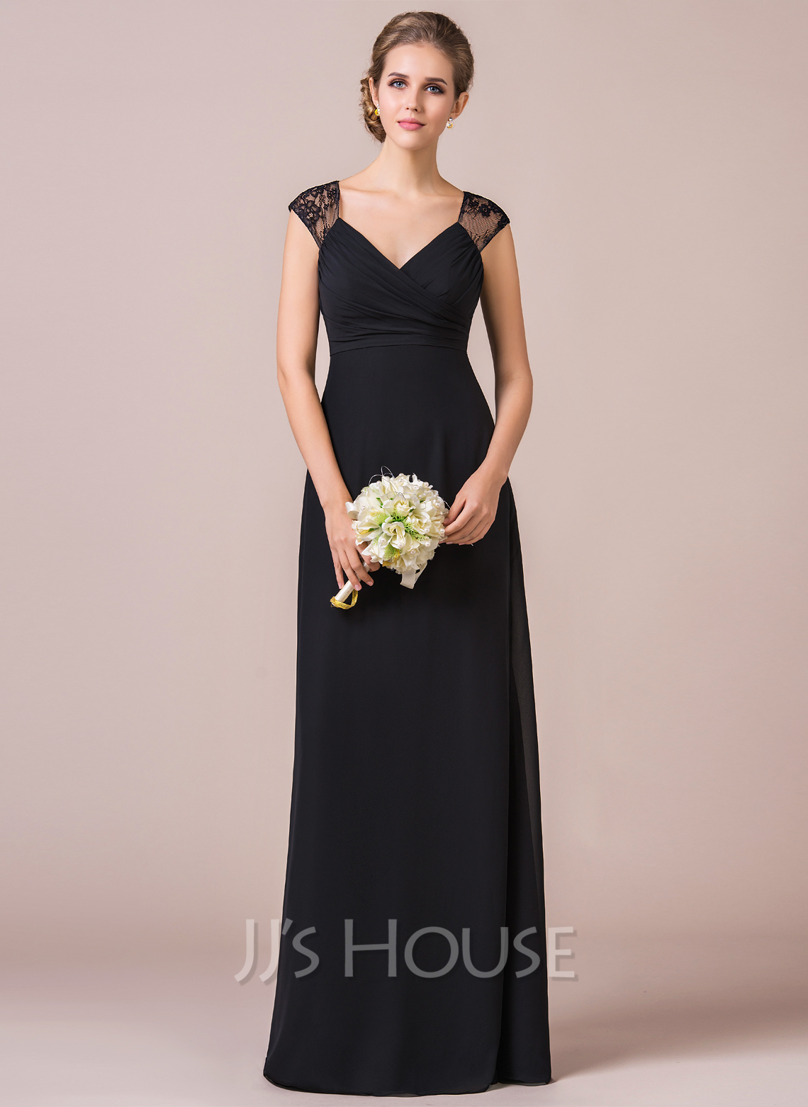 32740934116ec Empire Cap Sleeve Floor-length Chiffon Lace Bridesmaid Dress. Loading zoom