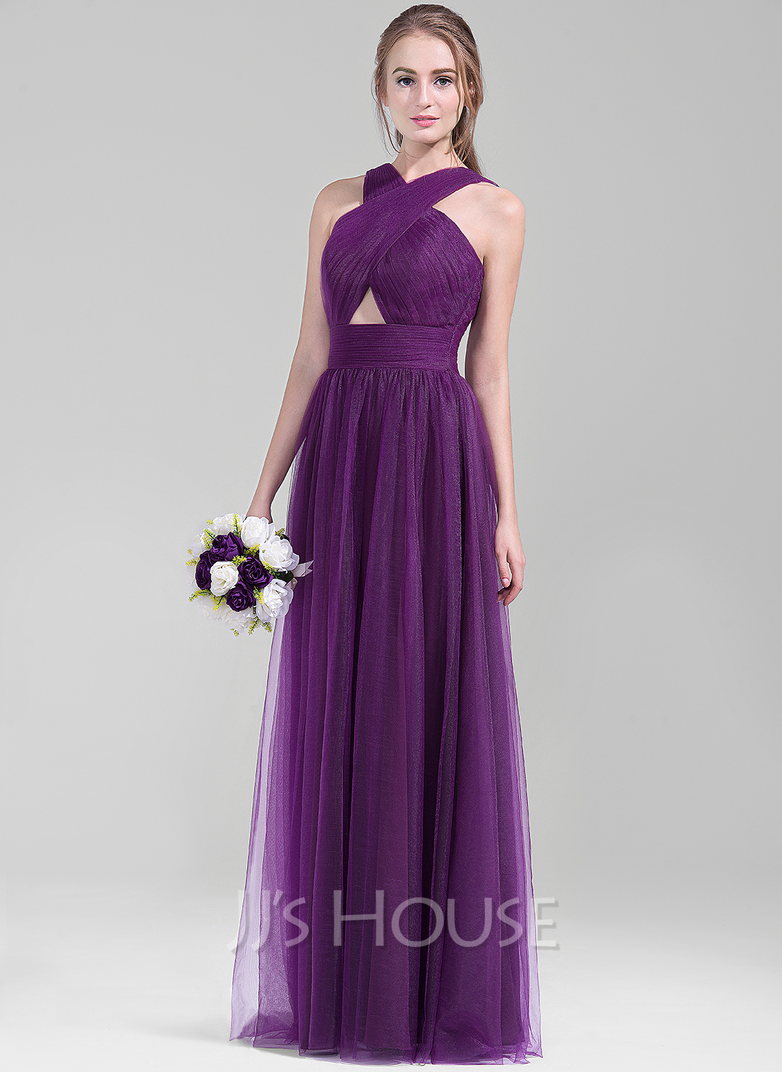 V-neck Floor-Length Tulle Bridesmaid Dress With Ruffle