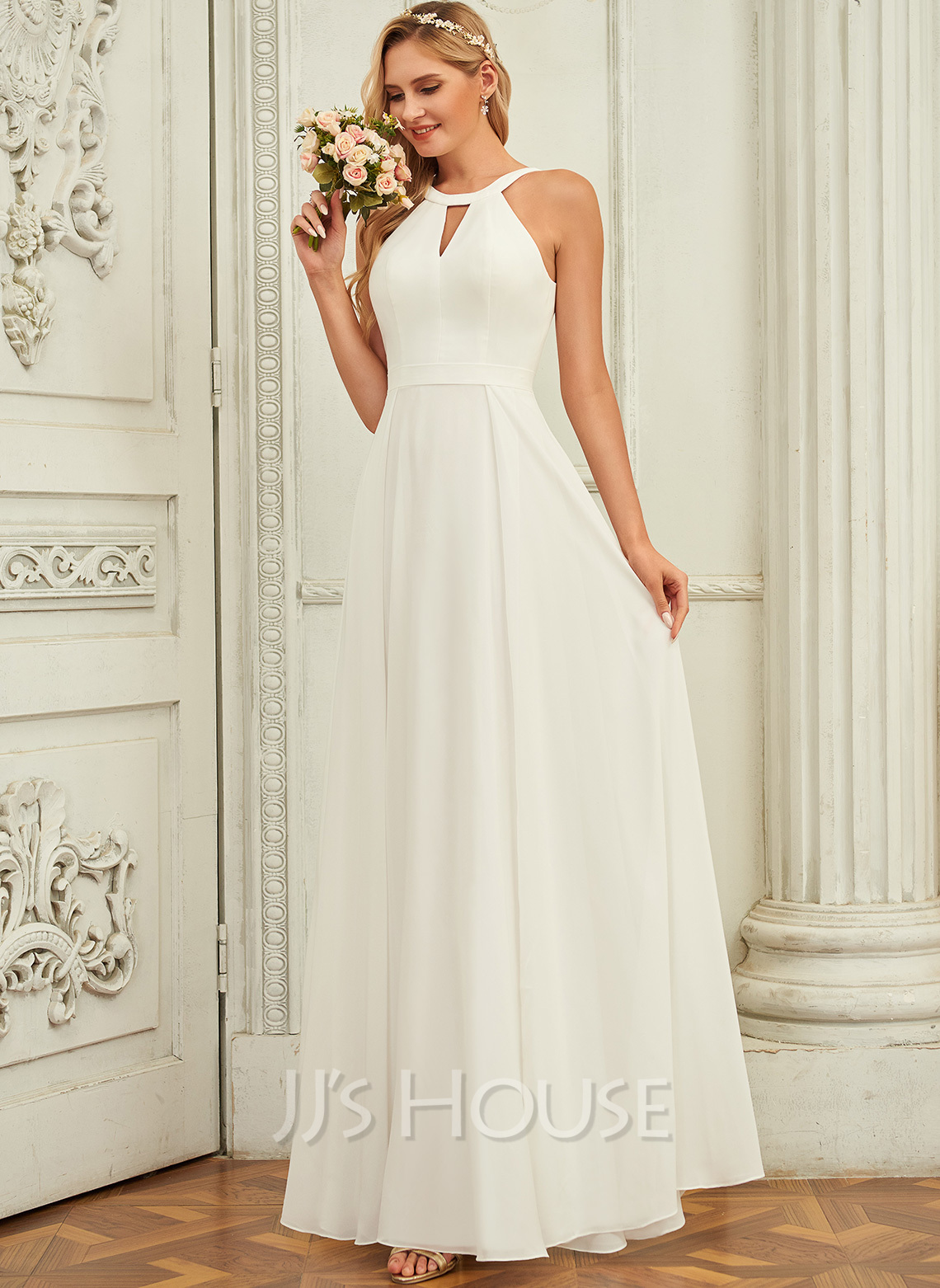 A-Line Scoop Neck Floor-Length Chiffon Wedding Dress