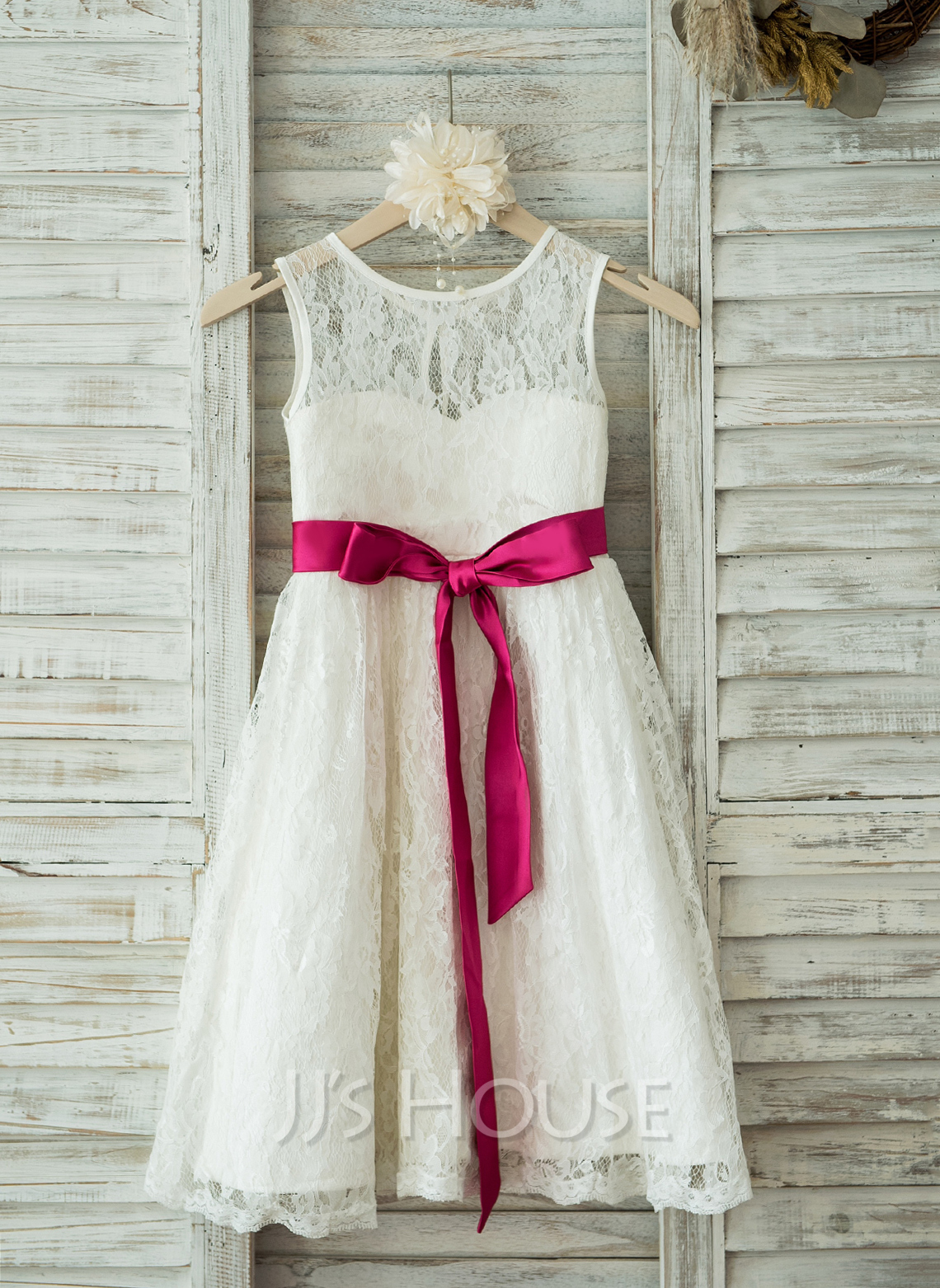A-Line/Princess Tea-length Flower Girl Dress - Lace Sleeveless Scoop Neck With Sash