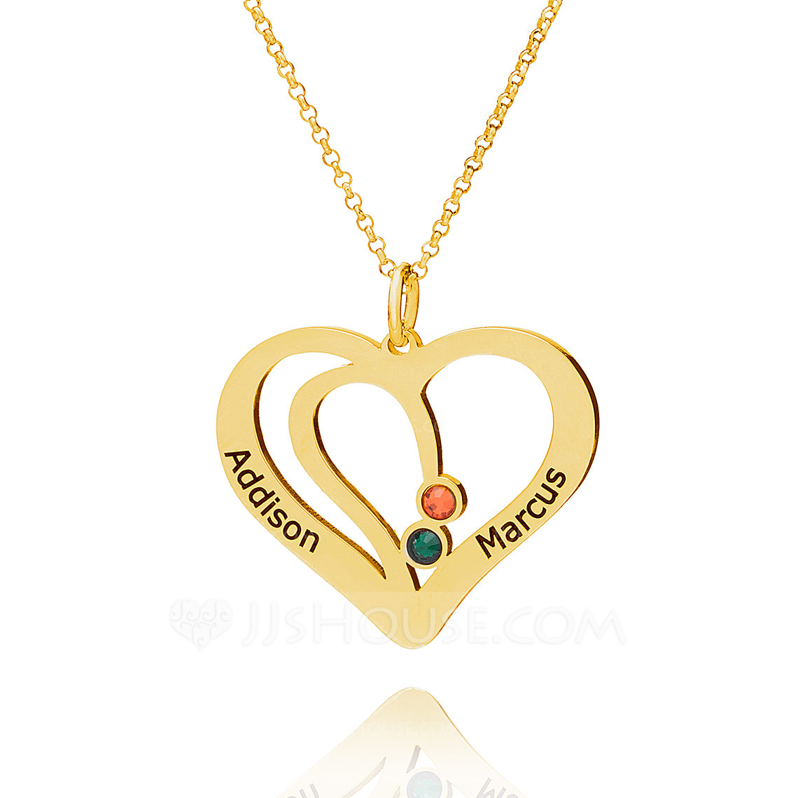 Custom 18k Gold Plated Silver LOVE Overlapping Two Name Necklace Heart Necklace Birthstone Necklace With Birthstone - Birthday Gifts Mother's Day Gifts