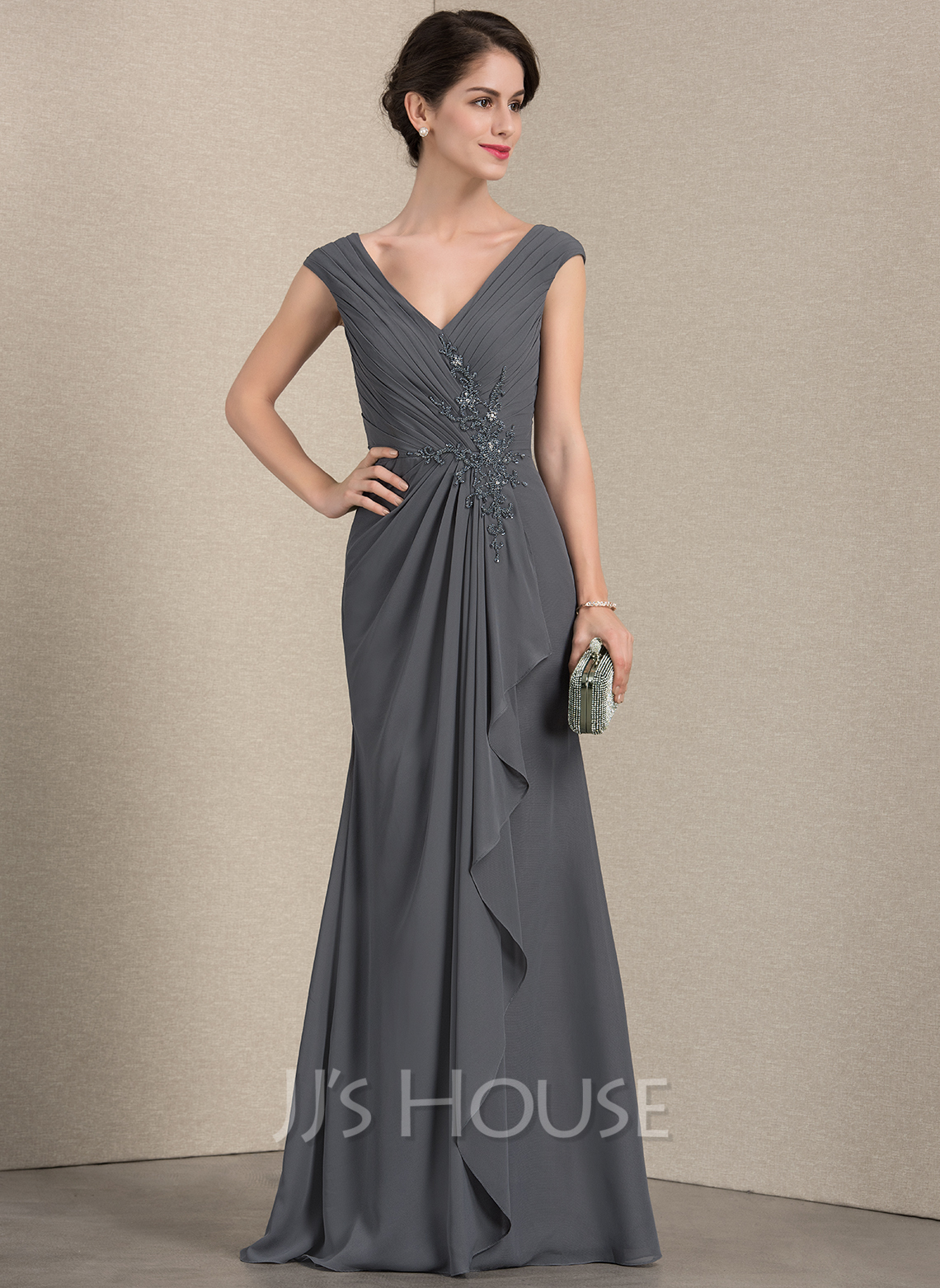 V-neck Floor-Length Chiffon Evening Dress With Beading Sequins Cascading Ruffles